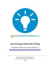 Free Lean Six Sigma Training (Yellow Belt Preview) by GoLeanSixSigma.com