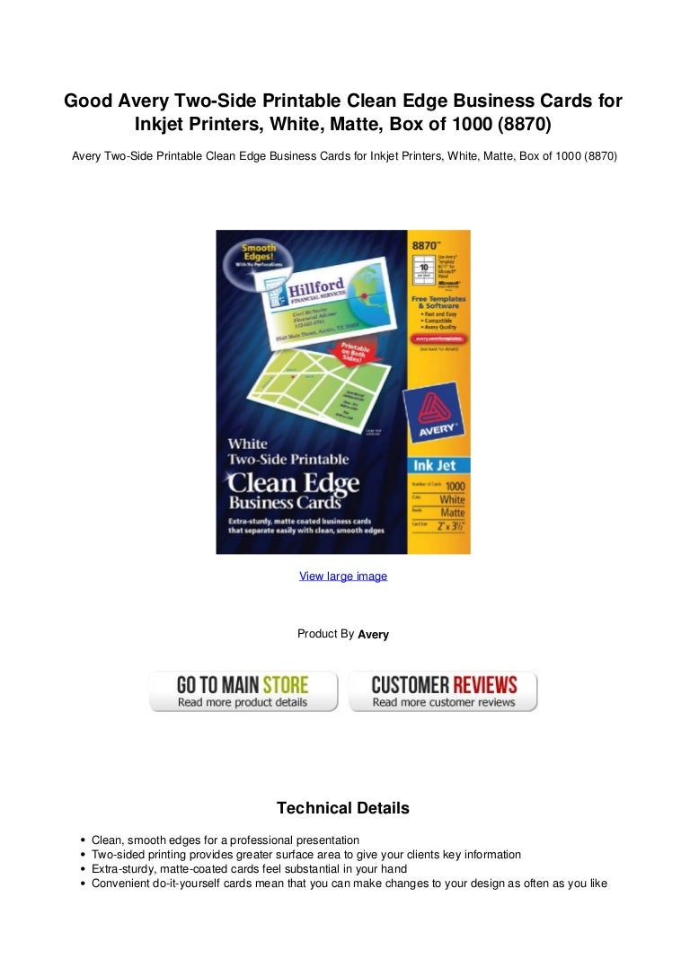 Good avery two side printable clean edge business cards for inkjet pr colourmoves