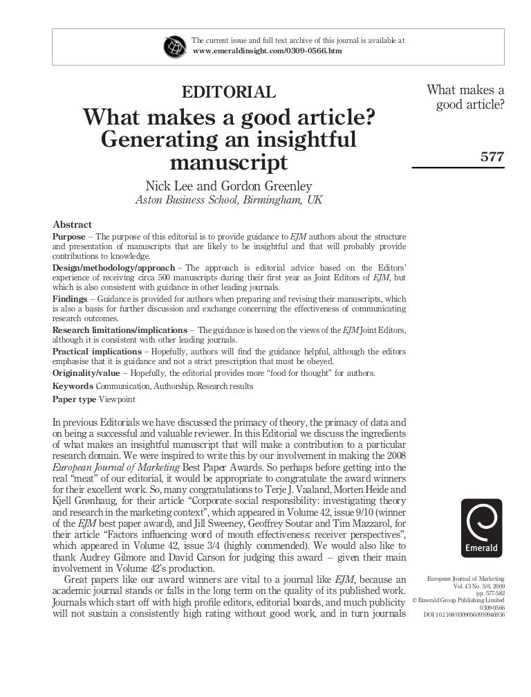 How to Write a Insightful Article