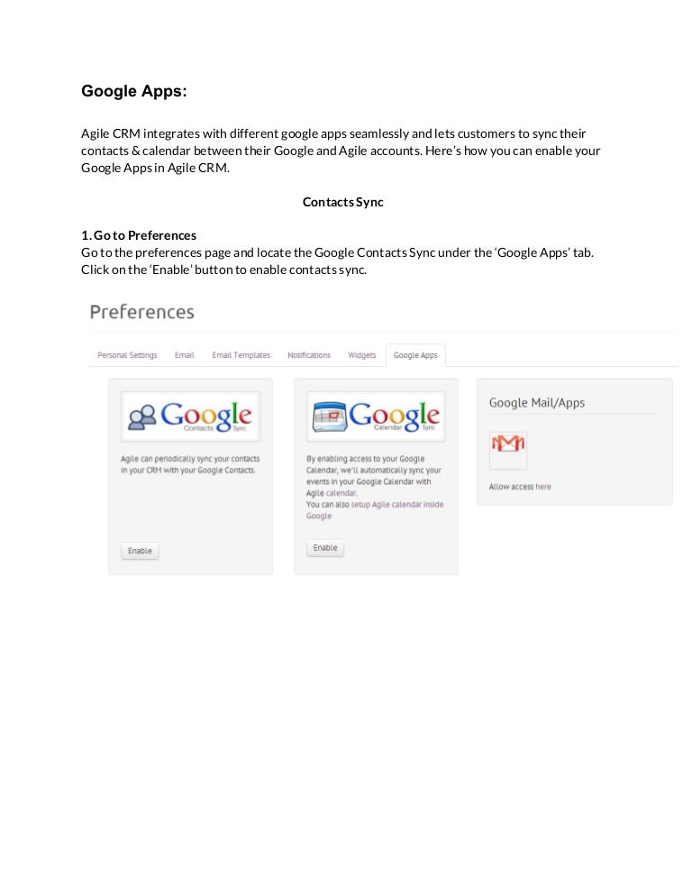 Google Apps Set Up Guide for Agile CRM.