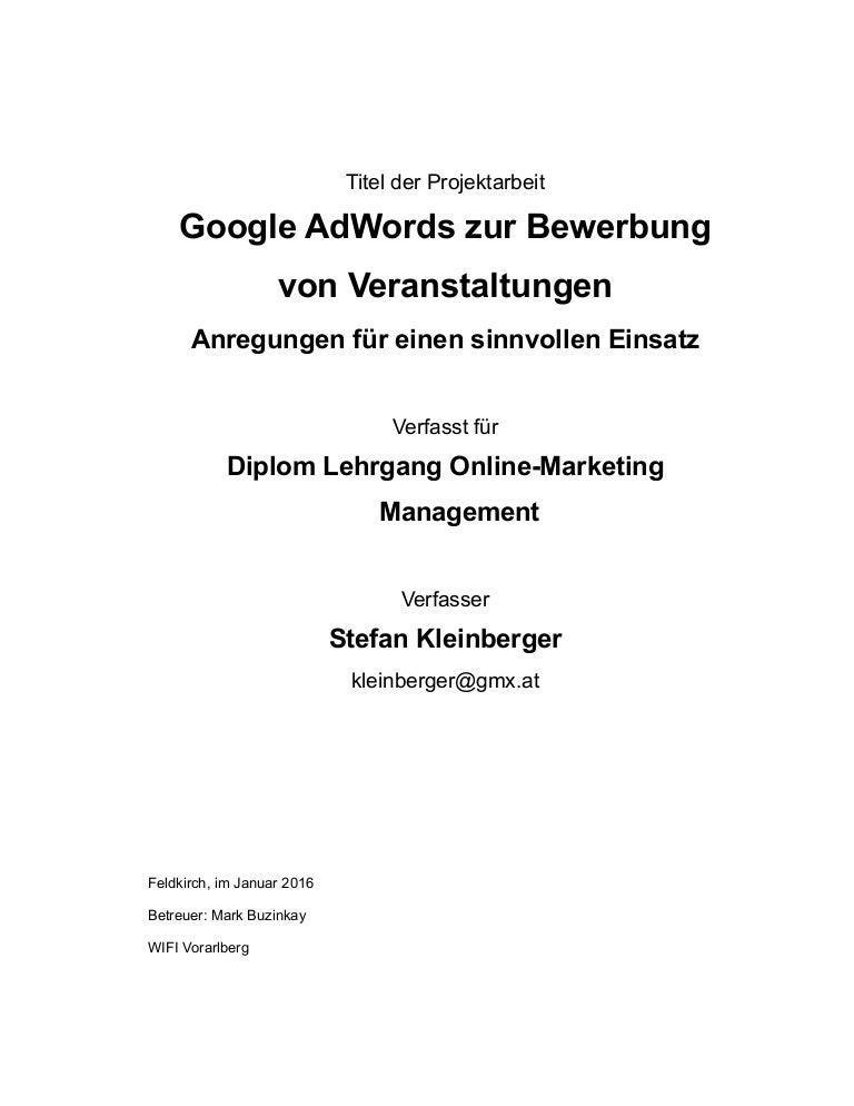 stefan kleinberger google adwords zur bewerbung von veranstaltungen - Bewerbung Betreuer Muster
