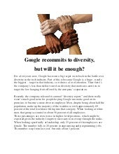 Google recommits to diversity