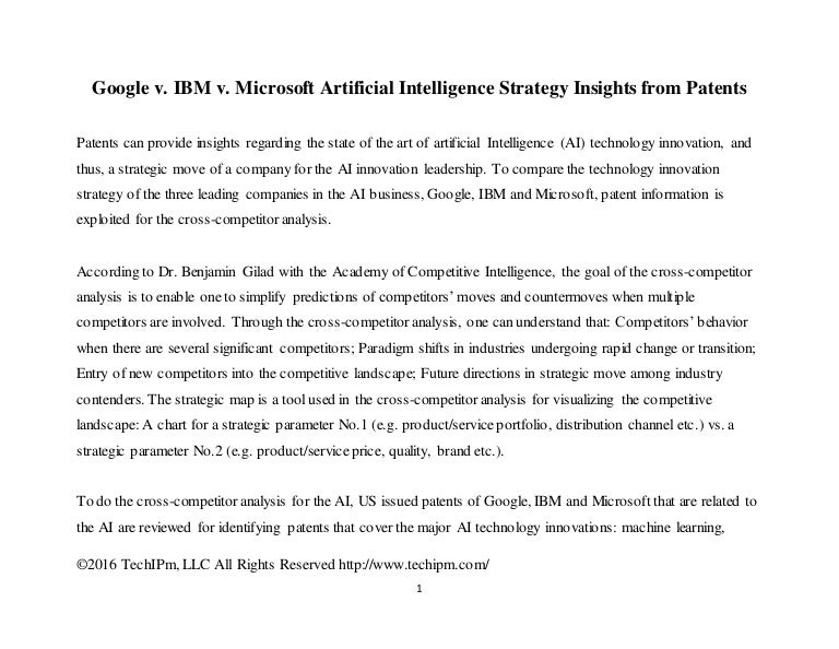 Google v IBM v Microsoft Artificial Intelligence Strategy Insights – Microsoft Competitive Analysis