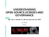 Open Source Licensing and Governance