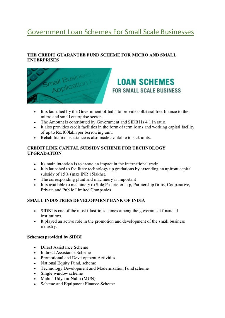 Loan for small business development