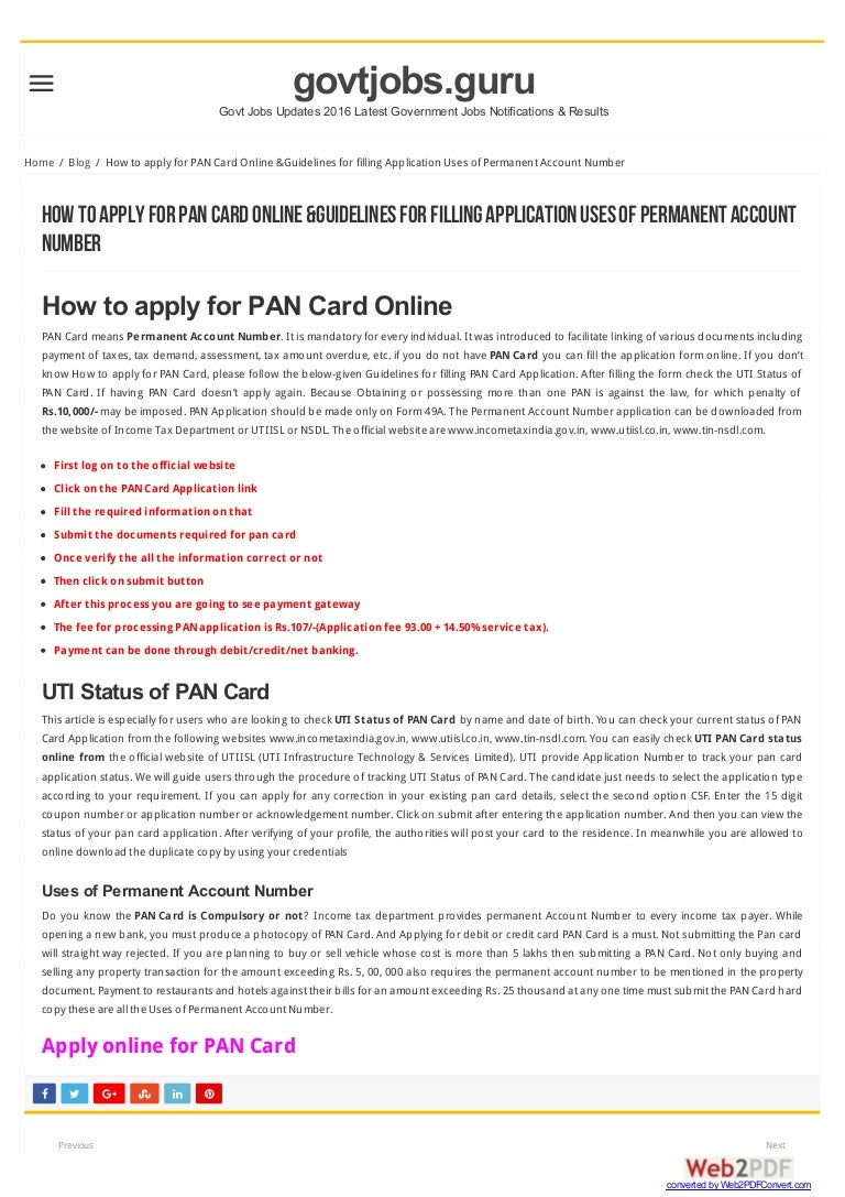 How to apply for PAN Card Online &Guidelines for filling Application …