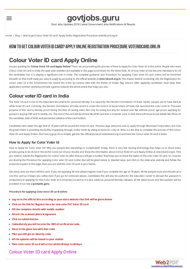 How to get colour voter id card apply online registration procedure falaconquin