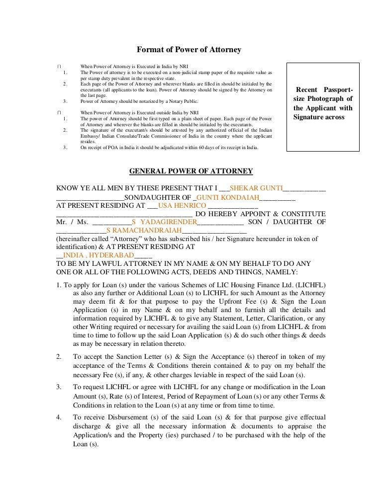 Power Of Attorney Letter Format Choice Image Letter Format Formal