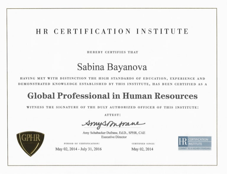 Global Professional in Human Resources (GPHR) Diploma