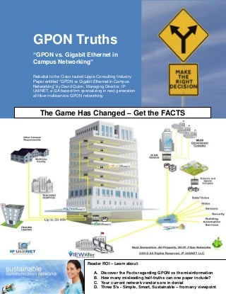 GPON vs. Gigabit Ethernet - Just the Facts