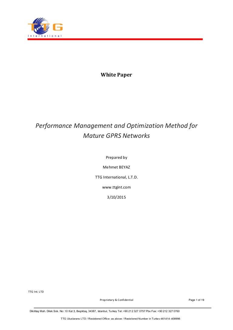 GPRS KPIs based on network performance