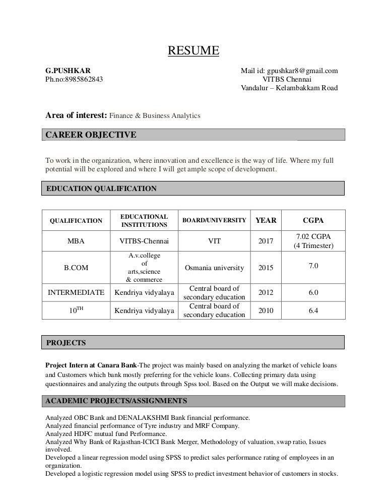 G Pushkar Resume