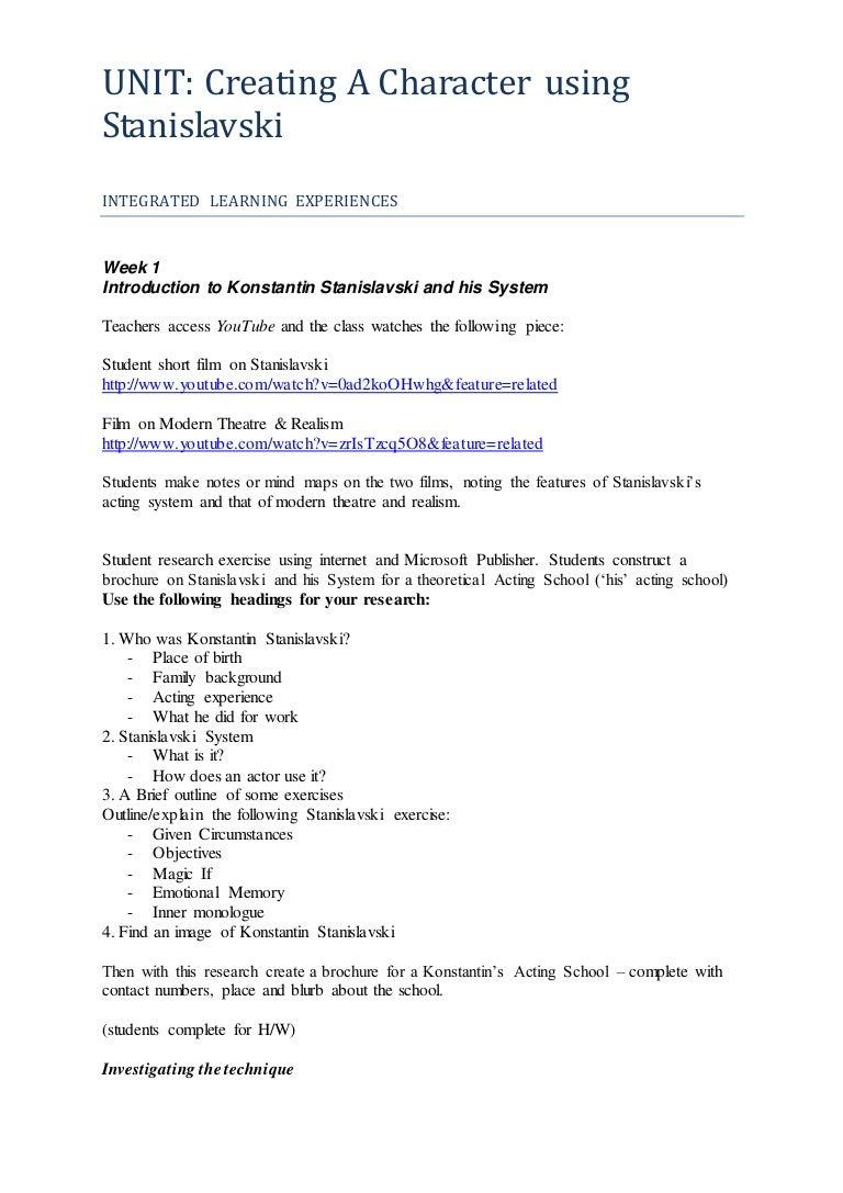 worksheet Creating A Character Worksheet grade 10lesson plan creating a character stanislavski