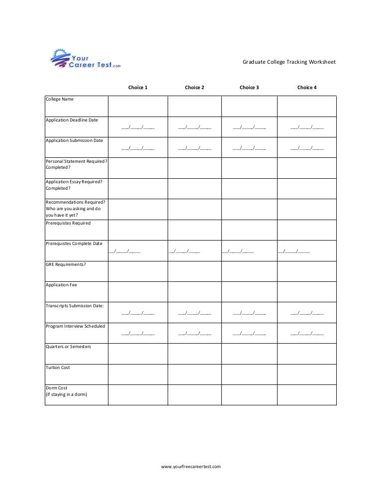 Graduate College Tracking Worksheet – College Worksheets