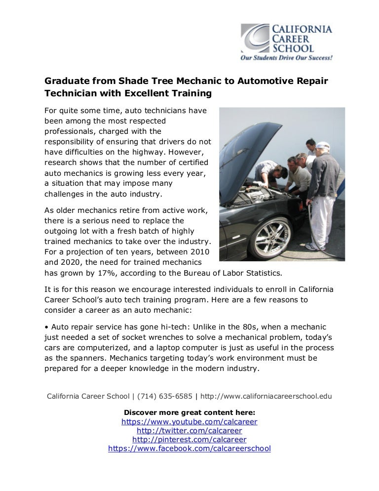 Graduate from Shade Tree Mechanic to Automotive Repair Technician wit…