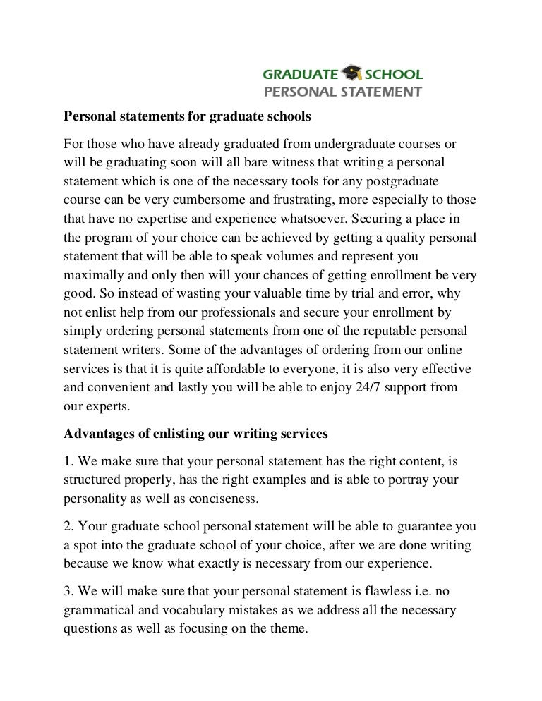 personal statement for graduate