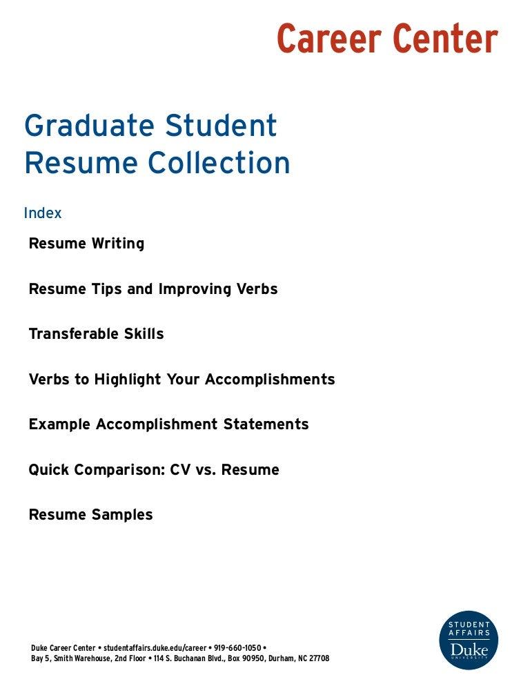 Graduate Student Resume Collection Duke University Career Center
