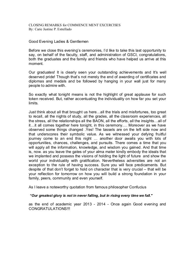 graduation closing remarks speech sample image titled write a graduation closing remarks