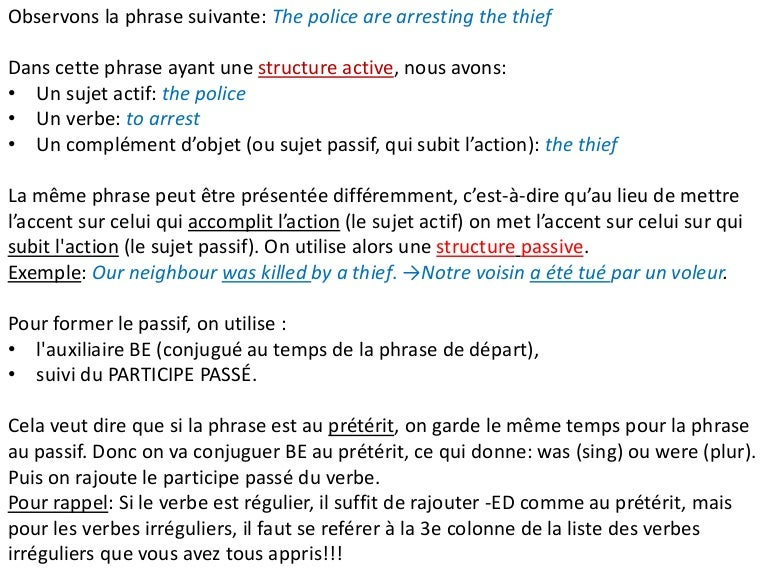 Exercice On The Passive Le Passif