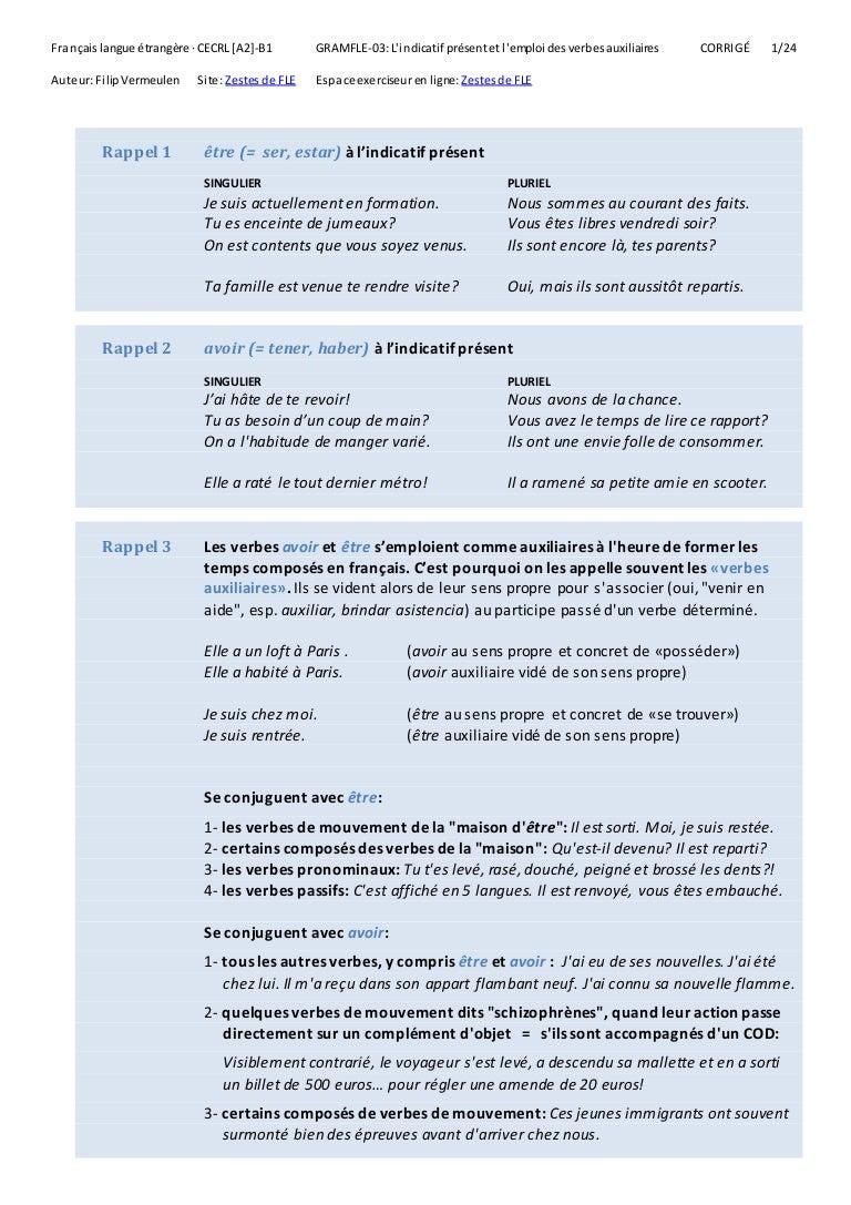 L Indicatif Present Et L Emploi Des Verbes Auxiliaires 3 Corrige
