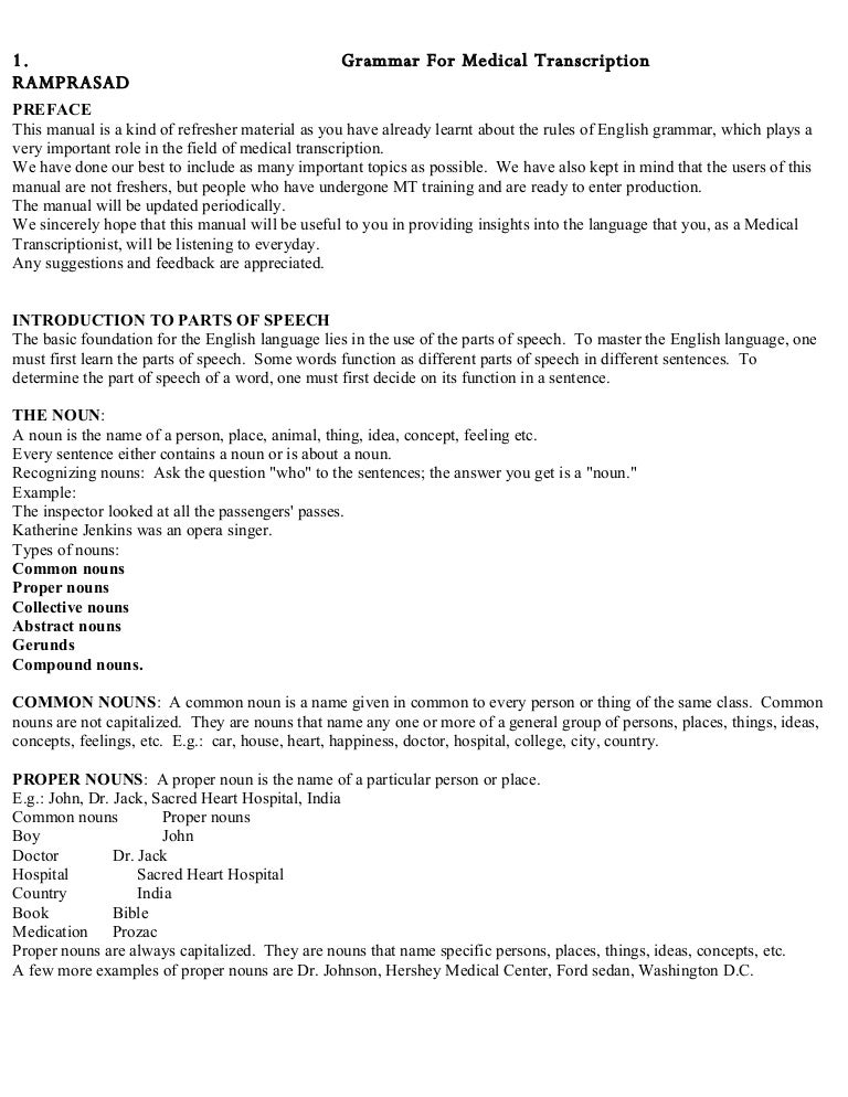 Grammer For Medical Transcription