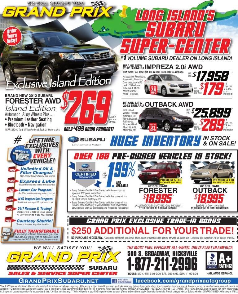 Subaru Certified Pre Owned 2 >> Grand Prix Subaru
