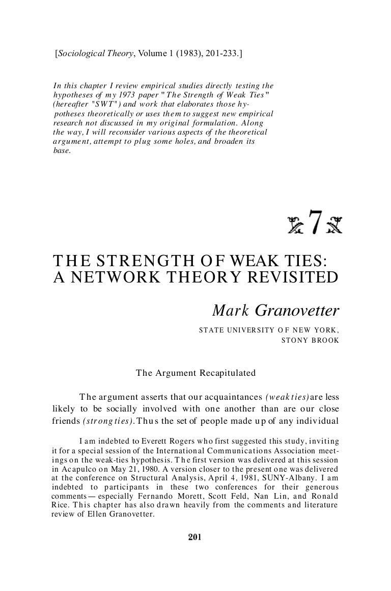 The Strength of Weak Ties Revisited