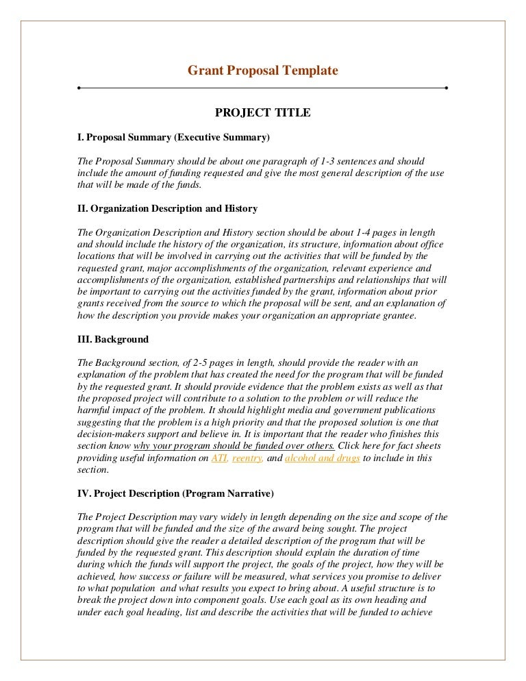 Grant proposal template – Executive Summary Proposal Template