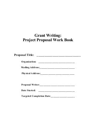 Grant Writing - Project Proposal Workbook