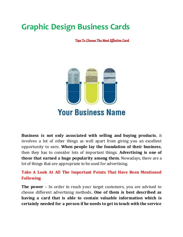 Graphic Design Business Cards Tips To Choose The Most Effective Card