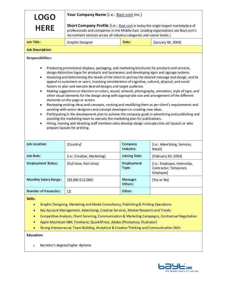 Graphic Designer Job Description Templates by Bayt.com