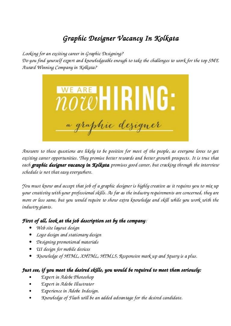 graphic designer vacancy in kolkata