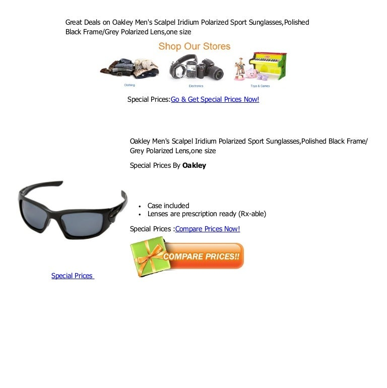 089449fd0 Great deals on oakley men's scalpel iridium polarized sport sunglasses,polished  black frame grey polarized lens,one size