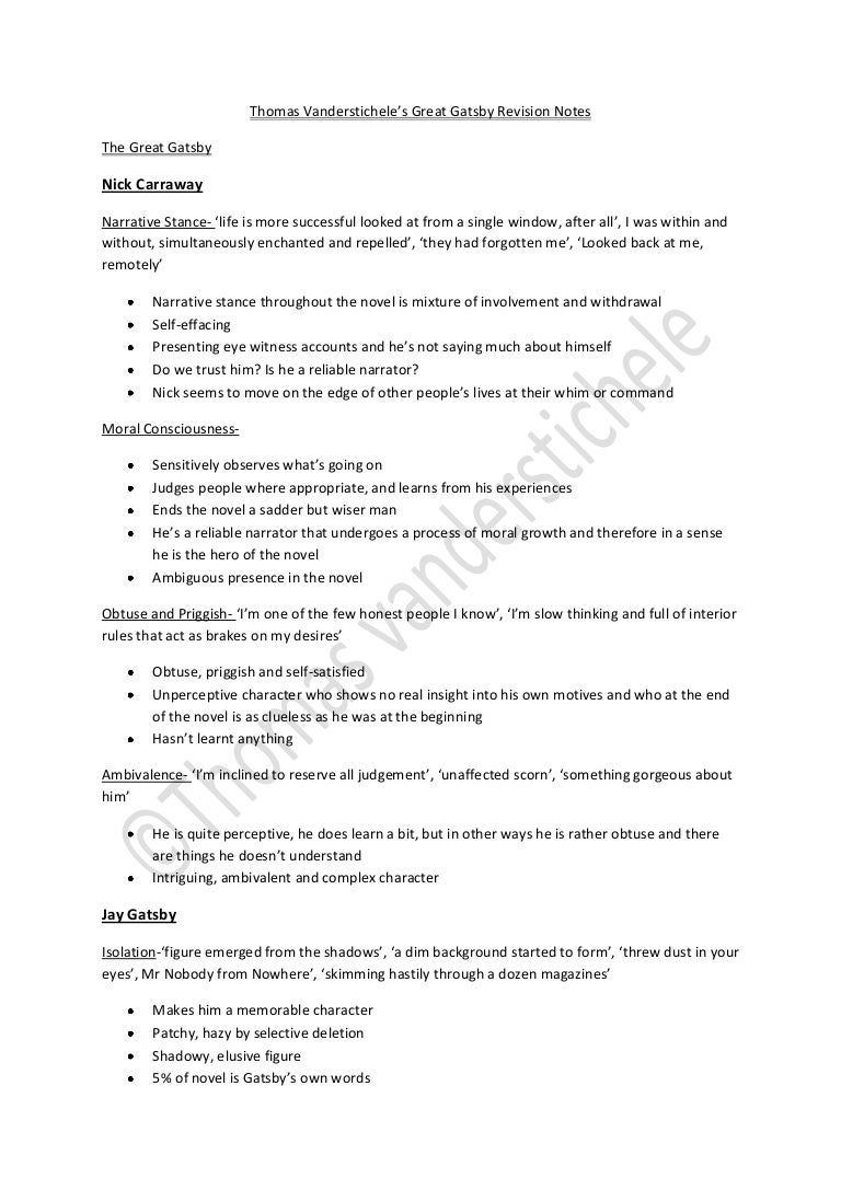 the great gatsby character revision notes by thomas vanderstichele