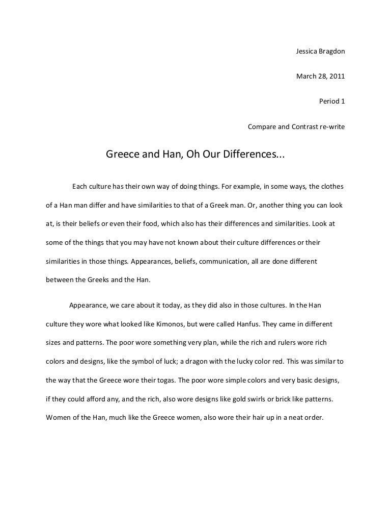compare and contrast essay of the han dynasty and