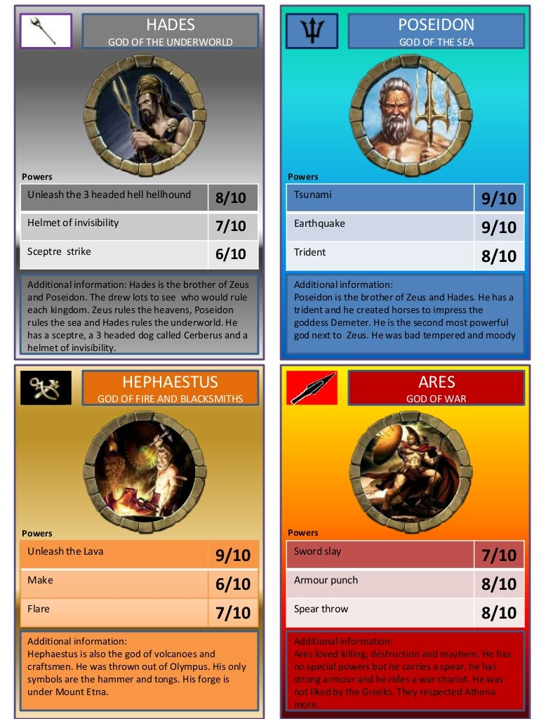 greek gods trading cards by tom