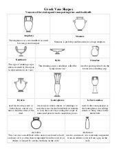 Greek vase shapes worksheets