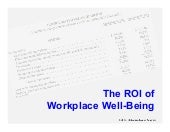 The ROI of Workplace Well-Being