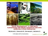 """Green development"" in Indonesia: harmonizing land-based investment and GHG emissions in East Kalimantan"