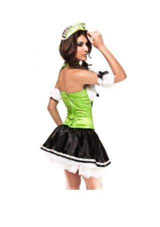 Green slim lace up maid costume