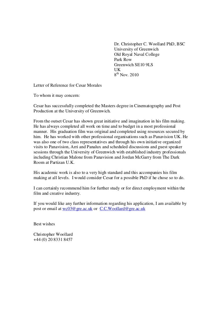 Greenwich reference letter aljukfo Choice Image