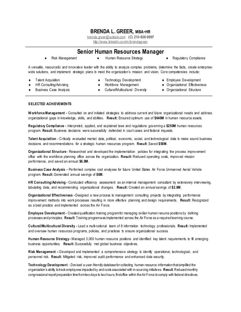 resume for human resource manager