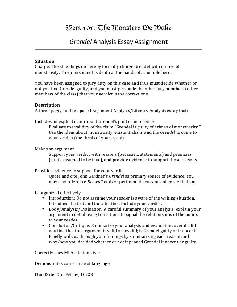 Grendel Analysis Essay Assignment