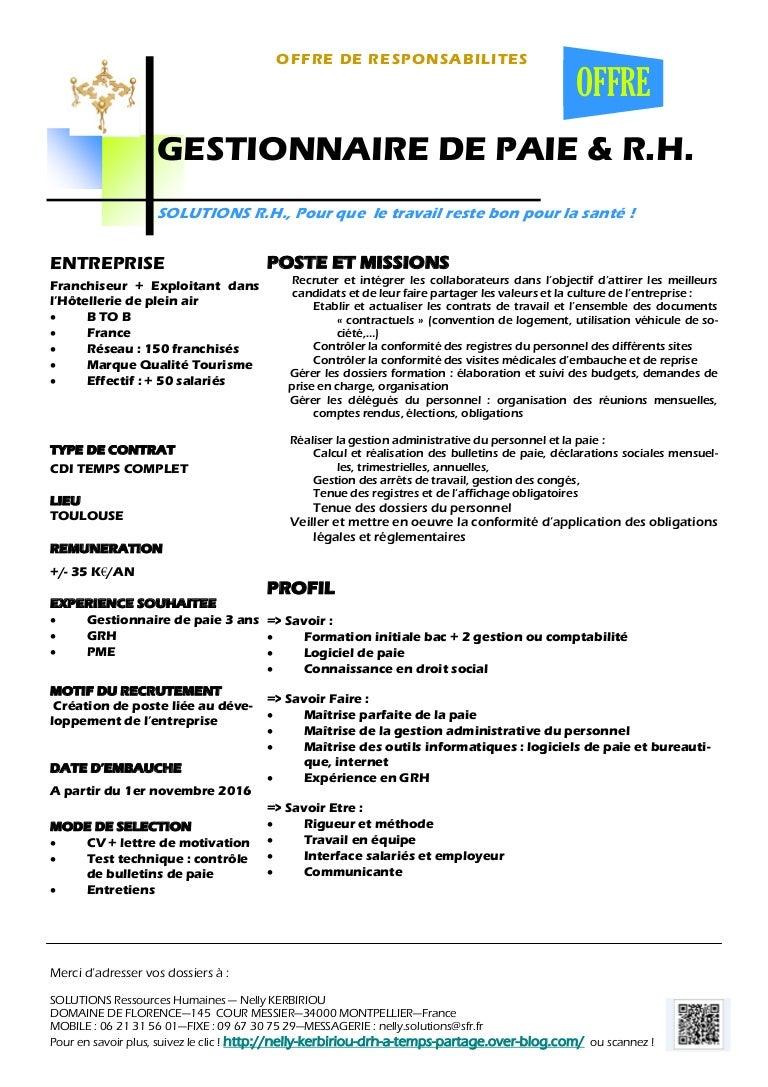 recherche gestionnaire de paie  u0026 r h