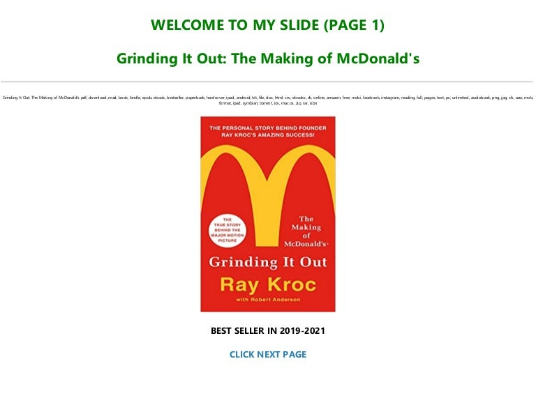 Free Read Book [PDF] Grinding It Out: The Making of McDonald's FOR ANY DEVICE