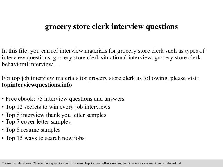 SlideShare Grocery Store Clerk Resume