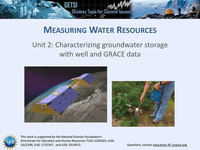 Presentation: Unit 2 Measuring Groundwater Background Information