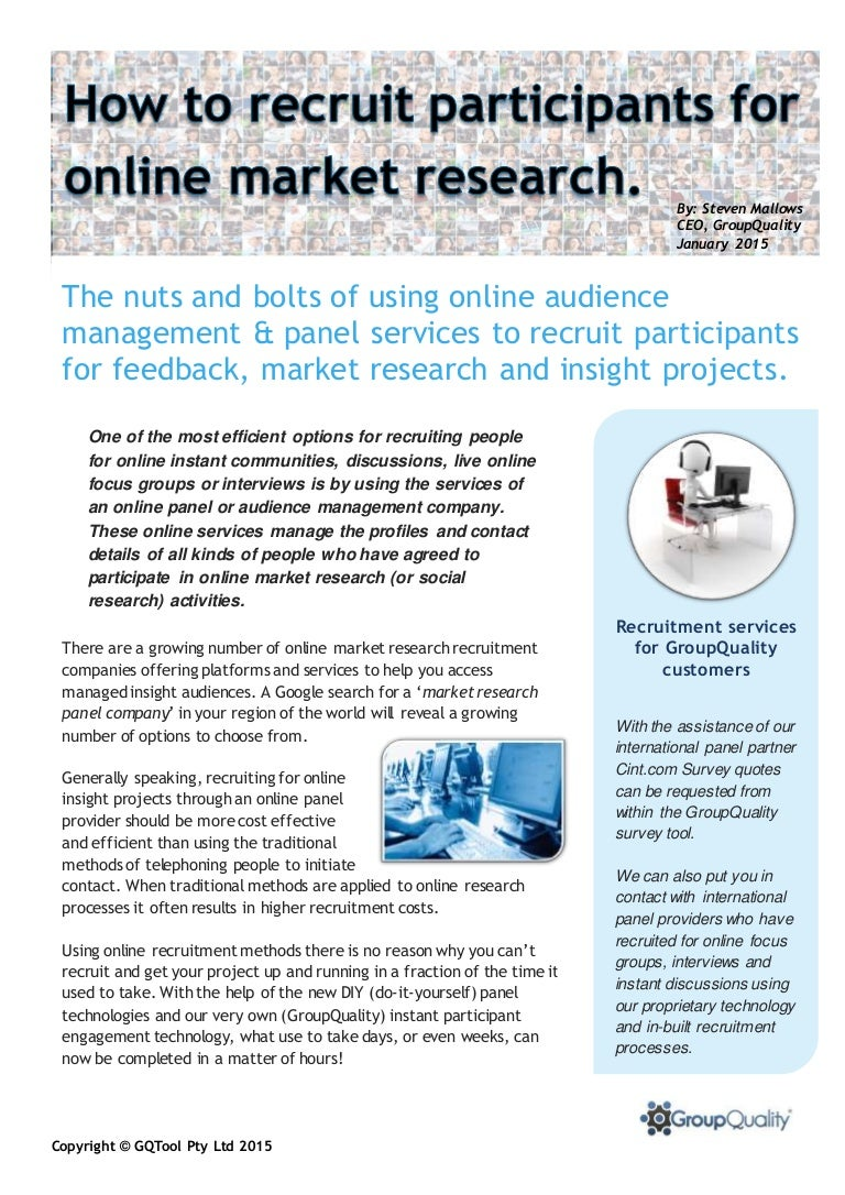 how to recruit participants for online market research
