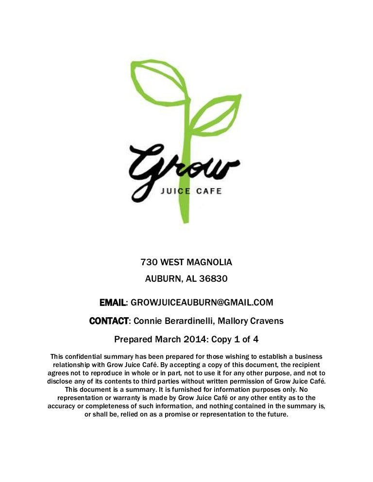 Grow  A Juice Cafe Business Plan
