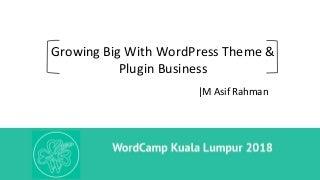 Growing Big With WordPress Theme & Plugin Business By M Asif Rahman At WordCamp Kuala Lumpur 2018